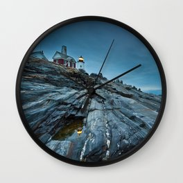Blue Dusk at Pemaquid Point Lighthouse Wall Clock