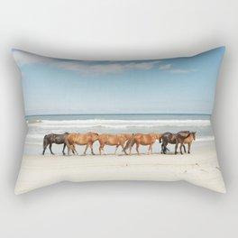 Beach Horses Rectangular Pillow