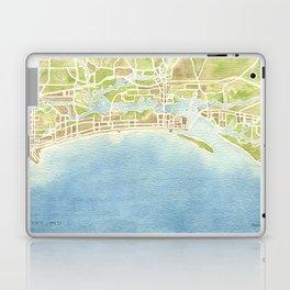 Biloxi Mississippi coast watercolor map Laptop & iPad Skin