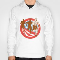 crossfit Hoodies featuring American Crossfit Runners USA Flag Circle Retro  by patrimonio