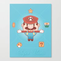 super mario Canvas Prints featuring Super Mario by Richard Howard