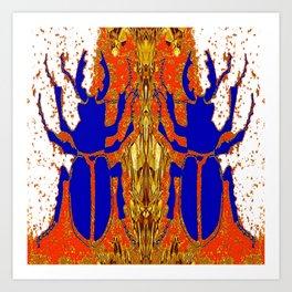 Lapis Blue Beetle on Gold Art Print