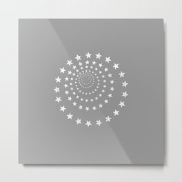 Stars Spiral | Stars Optical Illusion Simple Grey + White Vintage Minimalist Stencil Metal Print