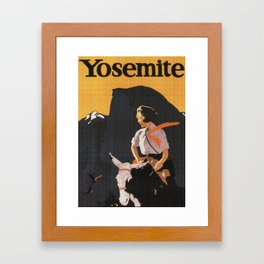 Retro Yosemite Travel Poster Framed Art Print