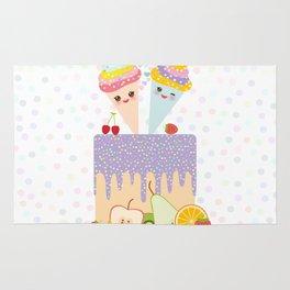 I love you Card design - Birthday, valentine's day, wedding, engagement. Sweet cake,  Kawaii Rug