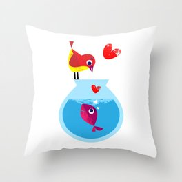 A Fish May Love a Bird but Where Would They Live?  Throw Pillow
