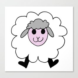 Hand drawing of a funny looking sheep Canvas Print