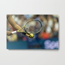 Detail of tennis racquet and ball Metal Print