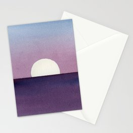 Moonset Watercolor Stationery Cards