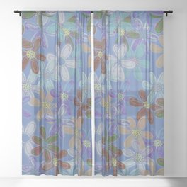 Hand Drawn Muted Blue Floral Sheer Curtain
