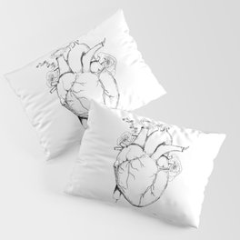 Black and White Anatomical Heart Pillow Sham