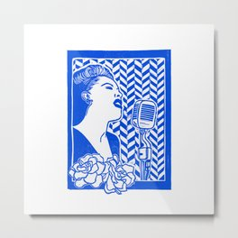 Lady Day (Billie Holiday block print) Metal Print