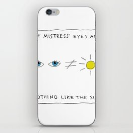 My mistress' eyes are nothing like the sun comic iPhone Skin