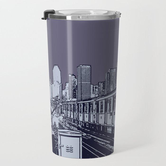 New York, NYC, Subway Train Yard at Night. (Photo collage, travel, gritty streets, graffiti) Travel Mug