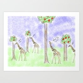 it ain't easy being a giraffe Art Print