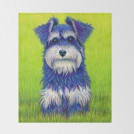 Colorful Miniature Schnauzer Dog Pet Portrait Throw Blanket