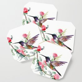 Flying Hummingbird and Red Flowers Coaster