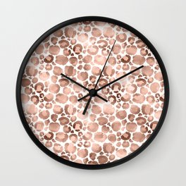 Rose Gold & White Animal Print Wall Clock