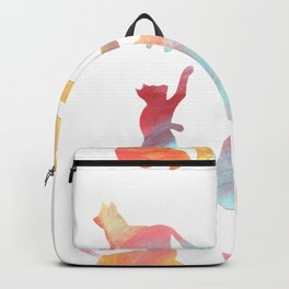 Cat Silhouette Collage with Rainbow Colours Backpack
