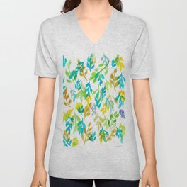 180726 Abstract Leaves Botanical 4 |Botanical Illustrations Unisex V-Neck