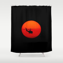 Vietnam Helicopter Sunset Shower Curtain