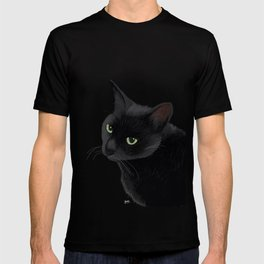Black cat in the dark T-shirt