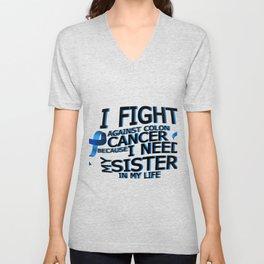 Fight Against Colon Cancer For Sister Unisex V-Neck