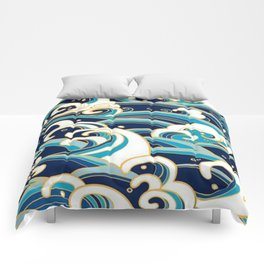Japanese Wave Pattern Comforters