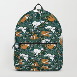 Fox and Hound medieval tapestry pattern design Backpack