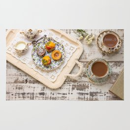 Tea cups and fruit tarts Rug
