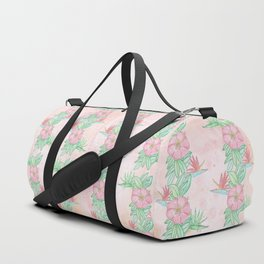 Tropical flowers and leaves watercolor Duffle Bag