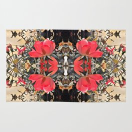 orange to rose ombre, roses in motion Rug