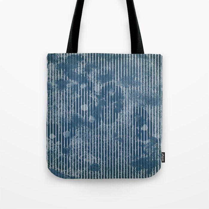 White stripes on grunge textured blue background Tote Bag