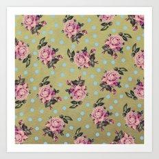 Pink Roses & Blue Dots Art Print