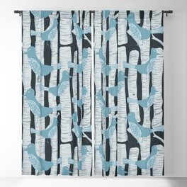 For the Birds and Birch Trees Blackout Curtain
