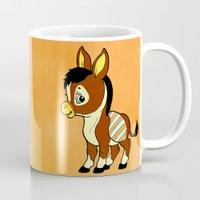 donkey Mugs featuring Childhood Donkey by Texnotropio