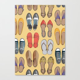 Hard choice // shoes on yellow background Canvas Print