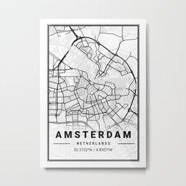 Amsterdam Light City Map Metal Print