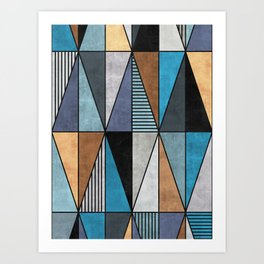 Colorful Concrete Triangles - Blue, Grey, Brown Art Print