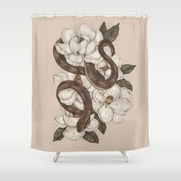 Snake and Magnolias Shower Curtain