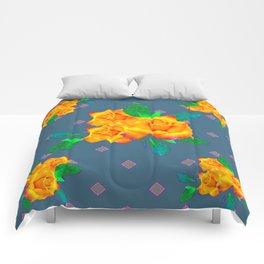 Teal Color Golden Roses Bouquet Patterns Comforters