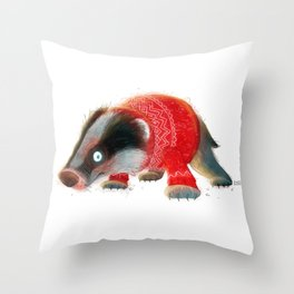 Cosy Badger Throw Pillow