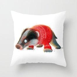 Cosy Badger Throw Pillow