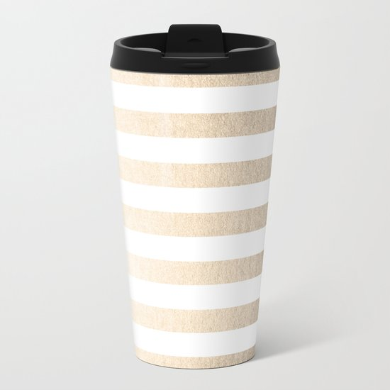 Simply Striped in White Gold Sands Metal Travel Mug