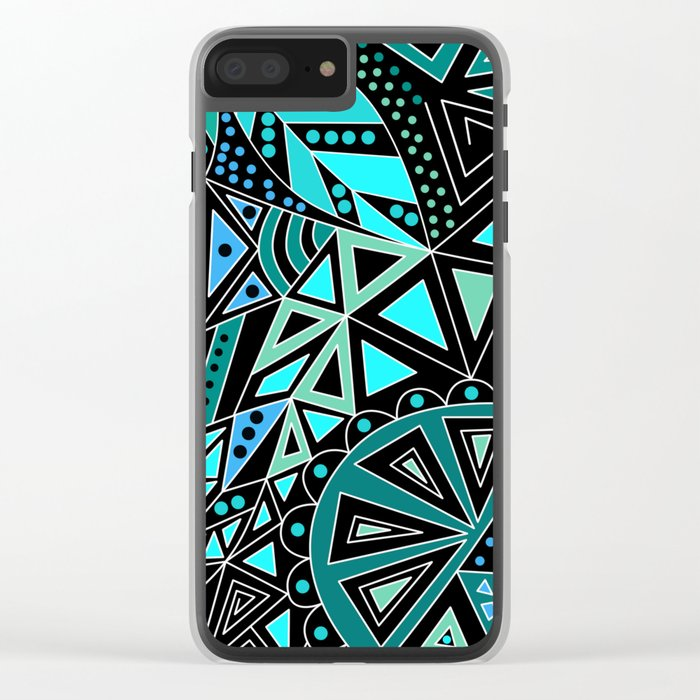 Ethnic pattern in blue turquoise tones on a black background . Clear iPhone Case