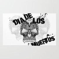 dia de los muertos Area & Throw Rugs featuring Dia De Los Muertos by Digi Treats 2
