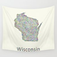 wisconsin Wall Tapestries featuring Wisconsin map by David Zydd