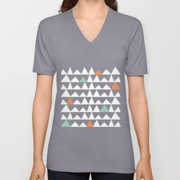 Tribal Triangles, Geometric Aztec Andes Pattern Unisex V-Neck