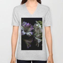 Floral bouquet. Purple and white flowers. Unisex V-Neck