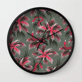 Snake Palms - Light Vintage Coral Wall Clock